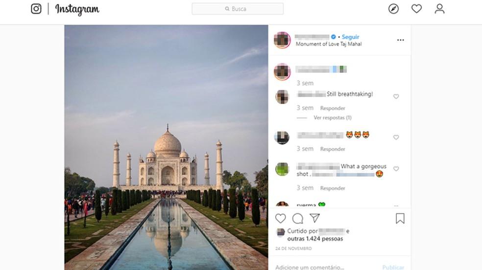 O Taj Mahal é uma das sete maravilhas do mundo moderno — Foto: Reprodução/Instagram