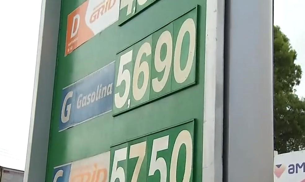 Gasolina chega a custar R$ 5,69 em postos de Natal — Foto: Reprodução/Inter TV Cabugi