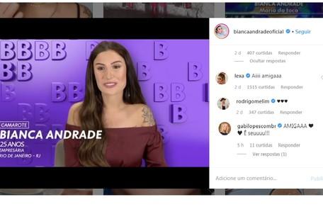 Bianca Andrade, também conhecida como Boca Rosa, tem a torcida da cantora Lexa, da ex-'Malhação' Gabi Lopes e da banda Melim. Ela namora Diogo Melim, um dos vocalistas Reprodução/Instagram