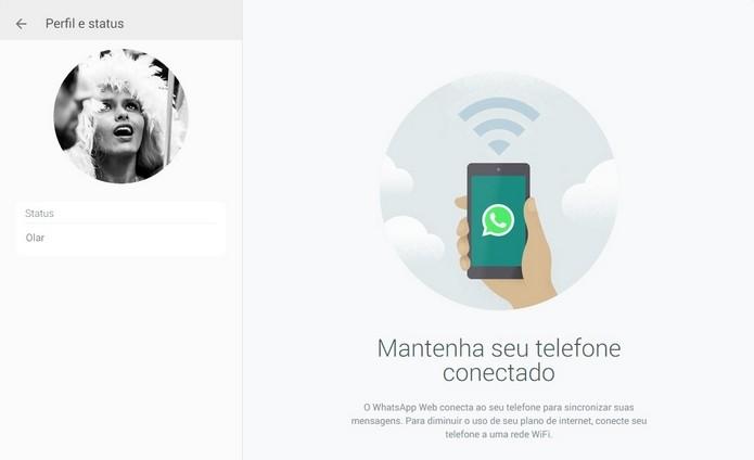 Na versão desktop do WhatsApp, perfil não é editável (Foto: Reprodução/ Raquel Freire)