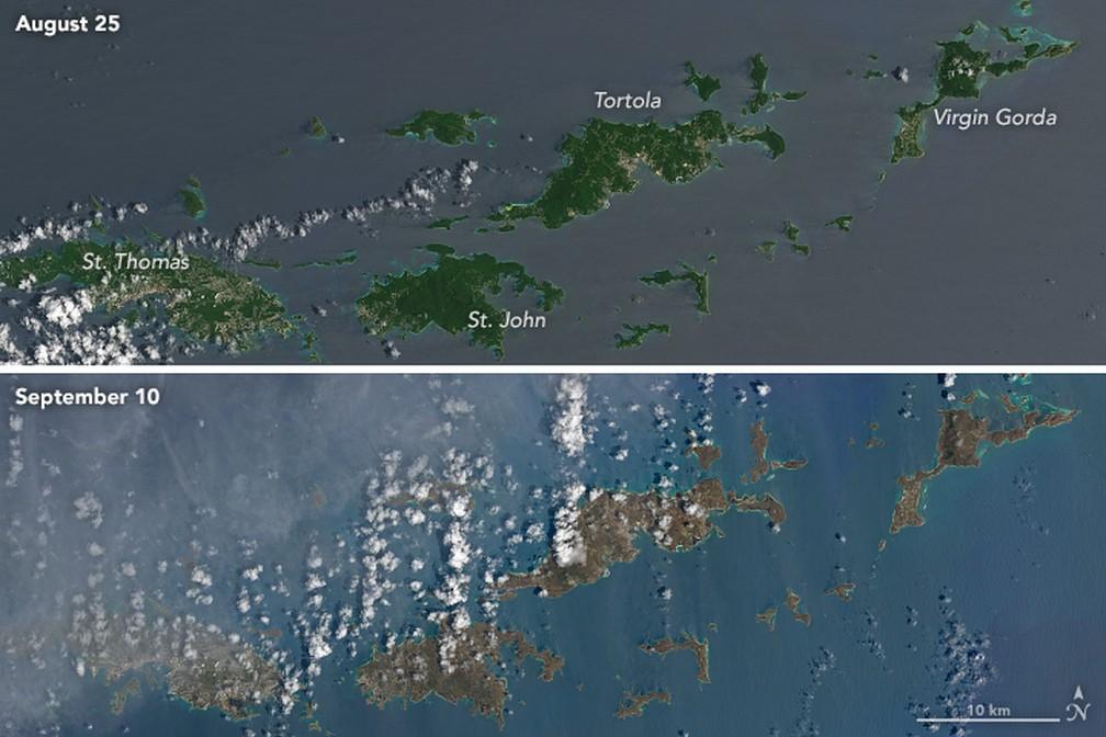 Imagens da passagem de Irma nas Ilhas Virgens Britânicas (Foto: Reprodução/NASA)