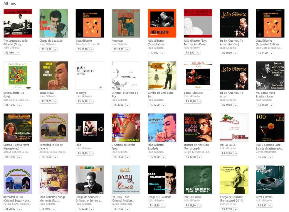 Painel de discos de João Gilberto à venda em plataforma de música — Foto: Reprodução / Internet