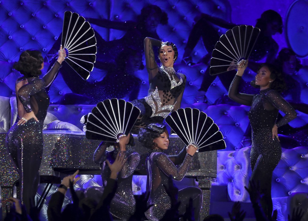 Cardi B se apresenta no Grammy 2019 — Foto: Matt Sayles/Invision/AP