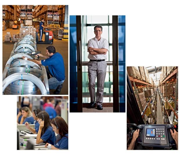 Faria, o presidente (acima); o CD em Uberlândia e o setor de televendas: investimento em tecnologia permitiu a expansão do grupo (Foto: João Marcos Rosa / NITRO)