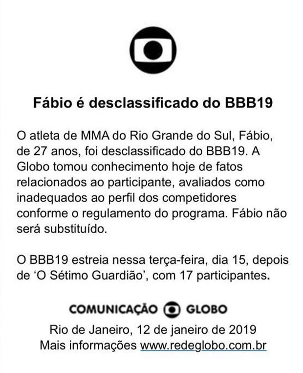 Comunicado da TV Globo (Foto: Reprodução )