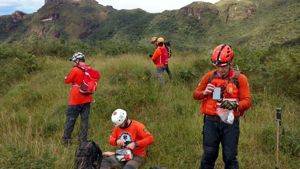 Há anos, GRM trabalha com resgates em montanhas no Norte de SC — Foto: GRM/ Divulgação
