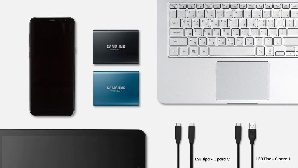 O Ssd Externo da Ssansum é compatível com dispositivos móveis  � Foto: Divulgação/Samsung