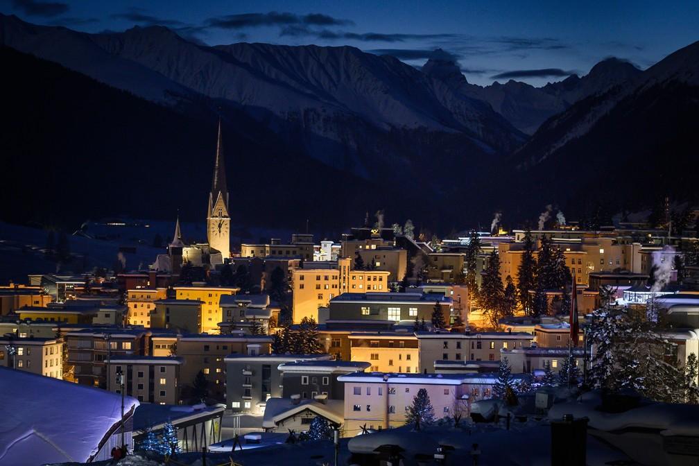 Vista de Davos, na Suíça, onde ocorre o Fórum Econômico Mundial — Foto: Fabrice Coffrini/AFP