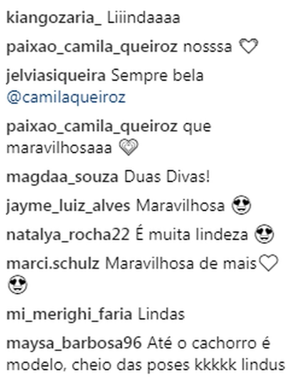 Seguidores comentaram postagem de Camila nas redes sociais — Foto: Reprodução Instagram Camila Queiroz
