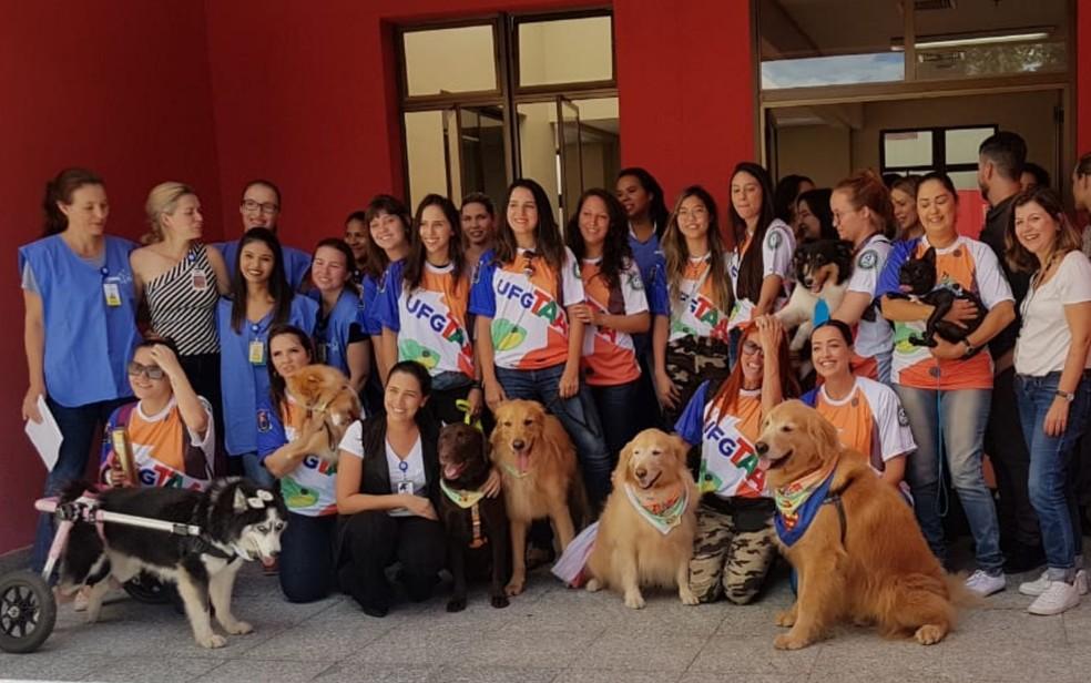 Grupo de funcionários do Crer e tutores com os cães 'terapeutas' no Crer, em Goiânia, Goiás — Foto: Yanka Araújo/TV Anhanguera