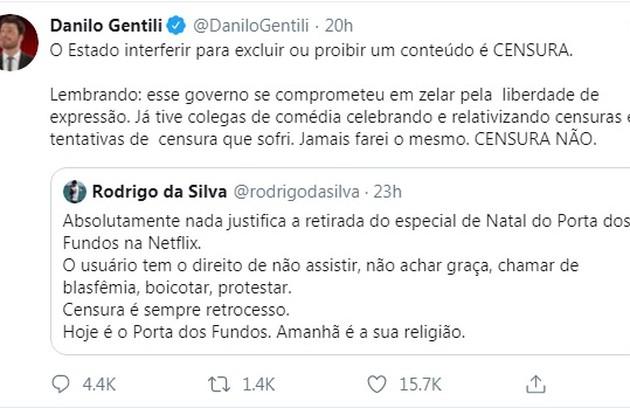 Danilo Gentili escreveu um texto e pediu 'Censura não' em seu Twitter (Foto: Reprodução/Twitter)
