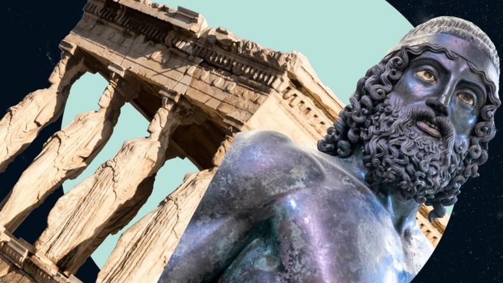 As Cariátides em mármore, e um dos Guerreiros de Riace, feito em bronze. — Foto: Getty Images via BBC