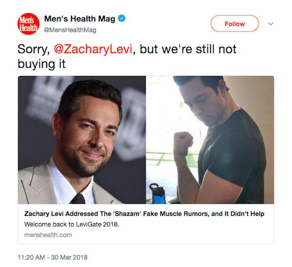 O tuíte da revista Mens Health alegando que os músuculos de Zachary Levi em Shazam! são falsos (Foto: Twitter)