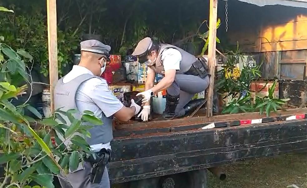 Caminhonete com plantas foi abordada em Botucatu — Foto: Polícia Rodoviária/Divulgação
