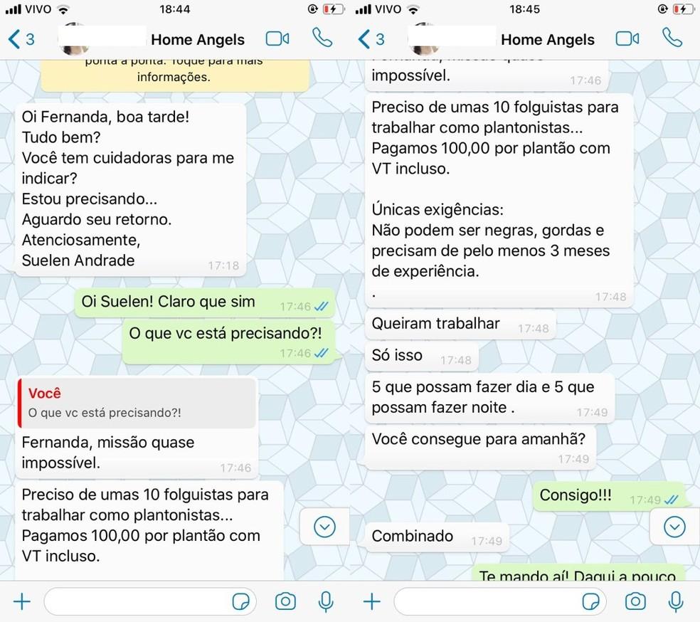 Fernanda disse que recebeu mensagem da empresa Home Angels e repassou para lista de transmissão — Foto: Fernanda Spadinger/Arquivo pessoal