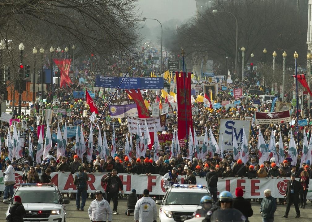 Manifestantes contra o aborto na Marcha Pela Vida, em Washington, ocorrida em janeiro — Foto: Jose Luis Magana/AP Photo