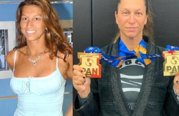 Samantha Barradas na época do 'BBB' 3 e, à direita, em foto recente como medalhista de jiu-jítsu (Foto: Reprodução/Facebook)