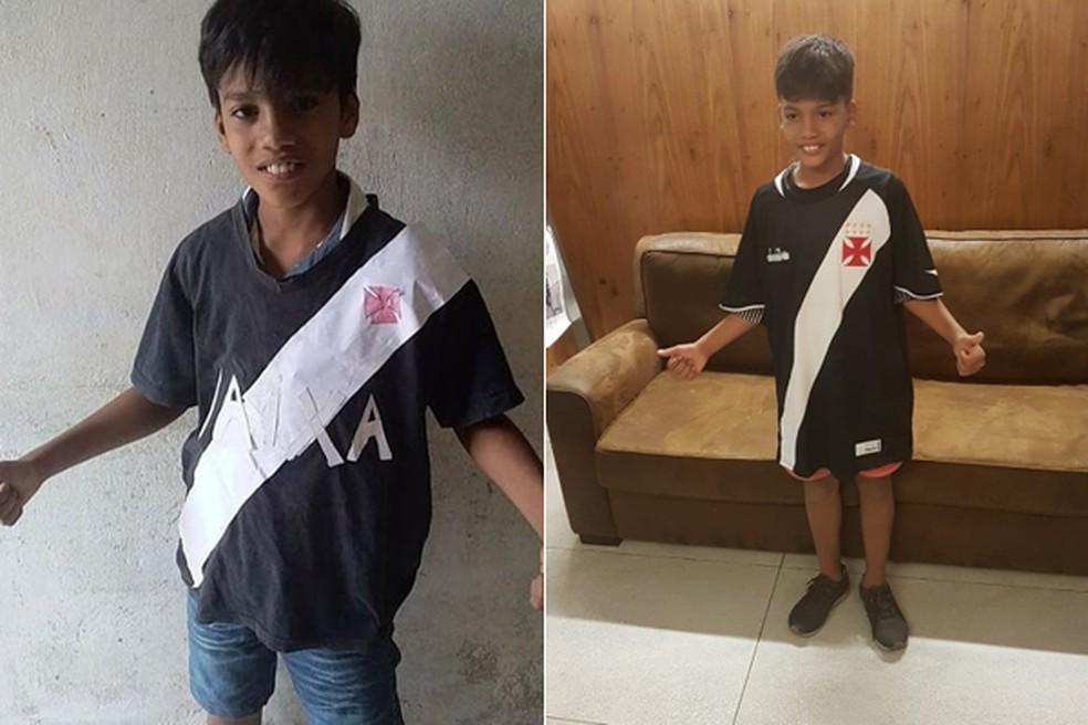 Otávio Coelho ficou conhecido após fazer camisa do Vasco com cola e papel  (Foto  142d1b03a0f74