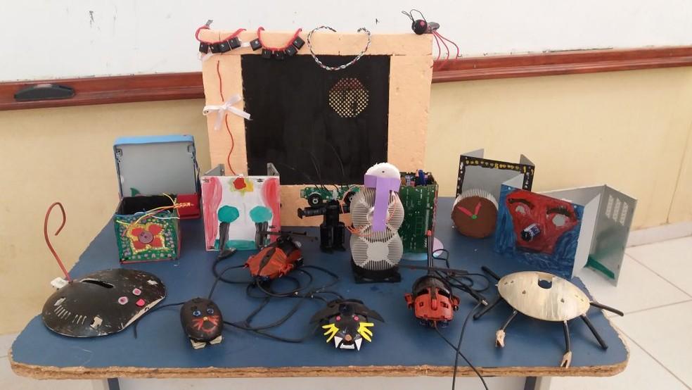 Resultado do projeto 'Nosso lixo é um luxo' desenvolvido na escola municipal João Batista Miléo (Foto: Karen Lavor/Divulgação/Arquivo Pessoal)