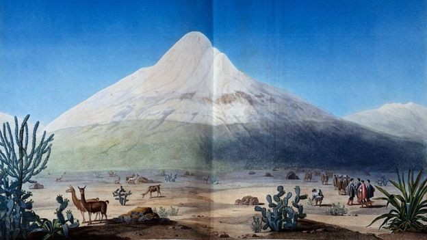 Humboldt's illustration of the Chimborazo: he climbed her at a time when she was believed to be the highest mountain in the world. (Photo: Getty Images via BBC)