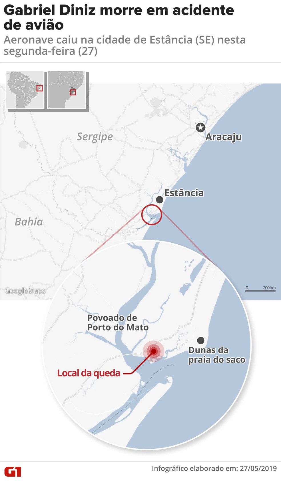 Mapa mostra local da queda de avião em que estava Gabriel Diniz — Foto: Arte G1/ Rodrigo Sanches