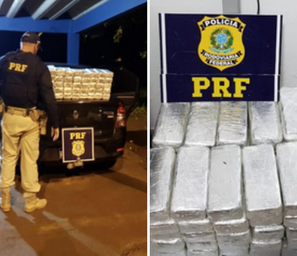 PRF apreende mais de 50 quilos de cloridrato de cocaína em caminhão cegonha que transportava veículos em rodovia no AC — Foto: Divulgação/PRF