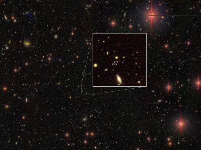 Quasar antigo com 13,05 bilhões de anos-luz de distância (Foto: National Astronomical Observatory of Japan)