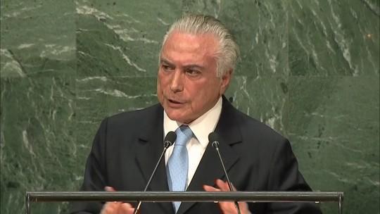 Na ONU, Temer diz que impeachment de Dilma respeitou a Constituição
