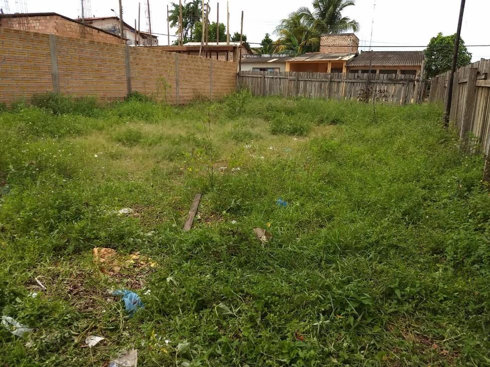 Terreno baldio onde Davi Amaral foi encontrado desacordado por moradores das proximidades — Foto: Jaderson Moreira/Tv Tapajós