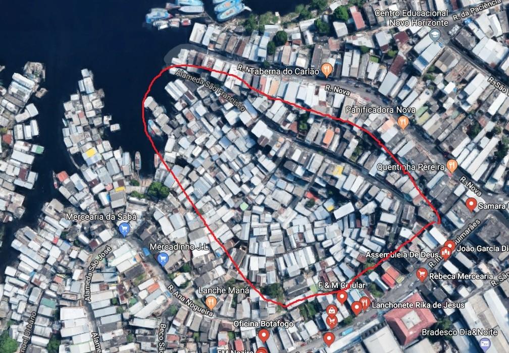 Área que foi atingida pelo incêndio (via satélite) — Foto: Internet