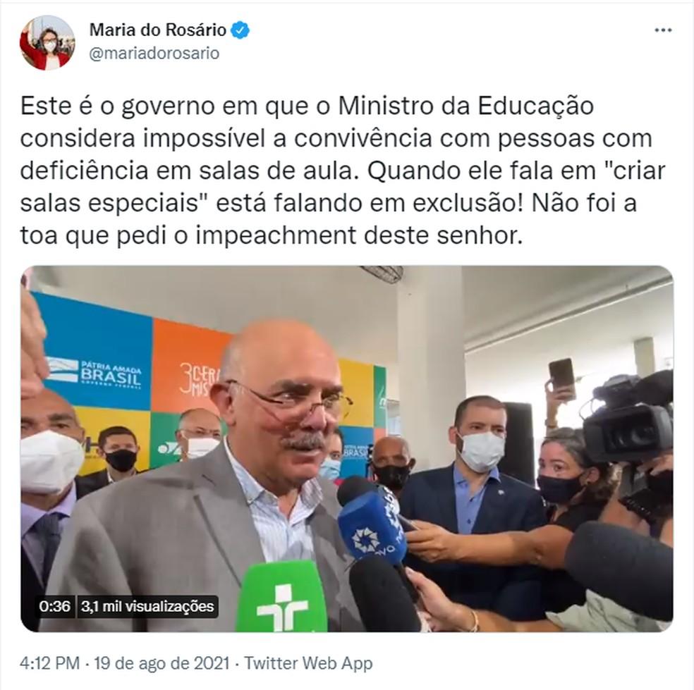Maria do Rosário critica fala de Milton Ribeiro — Foto: Reprodução/Twitter