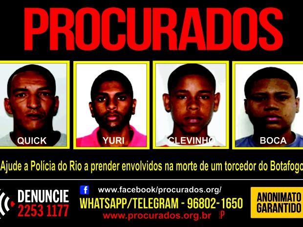Suspeitos de matar torcedor do Botafogo estão foragidos (Foto: Divulgação/ Portal dos Procurados)