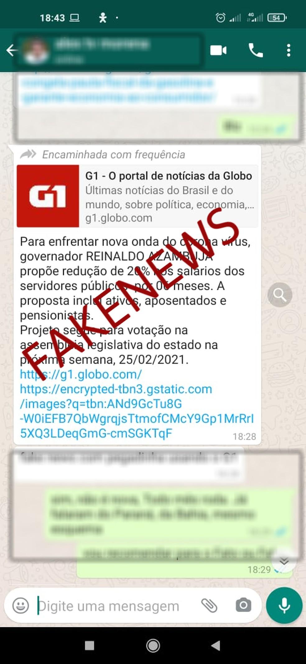 Governo de Mato Grosso do Sul desmente boatos de redução de 20% nos salários dos servidores públicos — Foto: Redes sociais