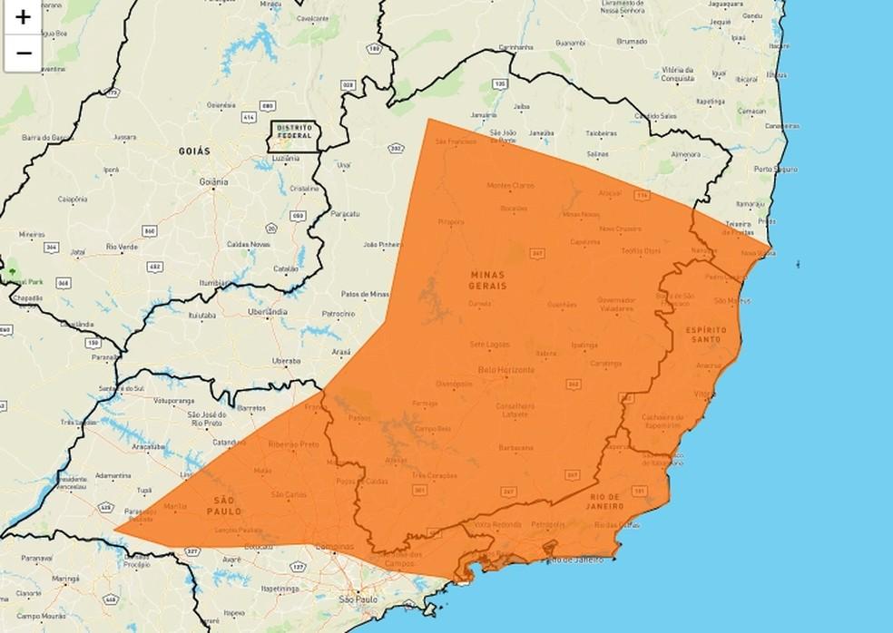 Mapa divulgado pelo Inmet no alerta de risco de chuvas fortes para o Sul de MG — Foto: Reprodução/Inmet