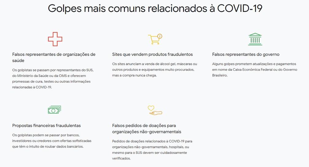 Os cinco golpes mais comuns na web envolvendo a pandemia do coronavírus e a Covid-19, segundo o Google — Foto: Reprodução/Google