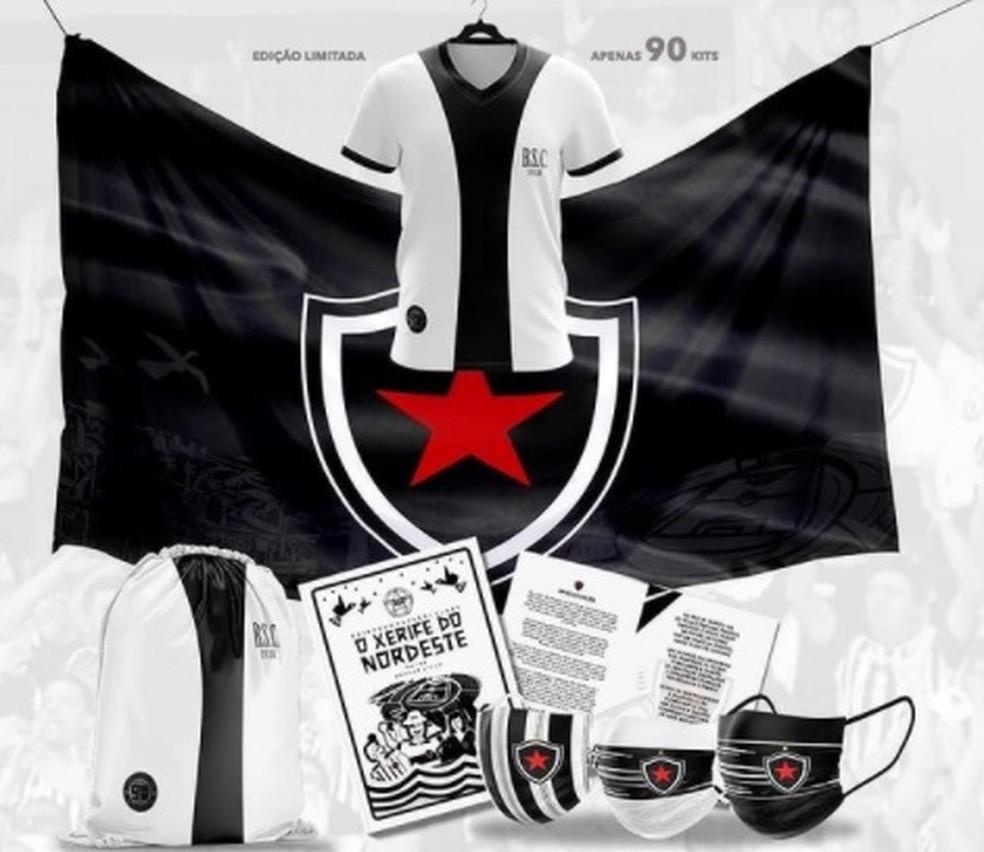 Kit alusivo aos 90 anos do Botafogo-PB contém camisa, bandeira, máscaras e cordel — Foto: Reprodução