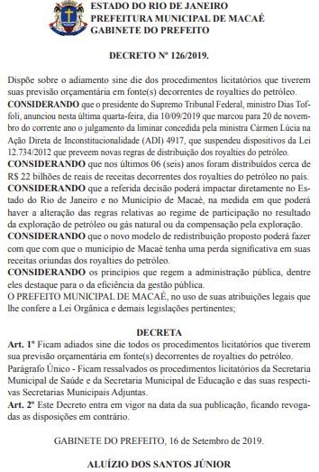 Prefeitura de Macaé, RJ, suspende licitações até STF definir futuro dos royalties - Notícias - Plantão Diário