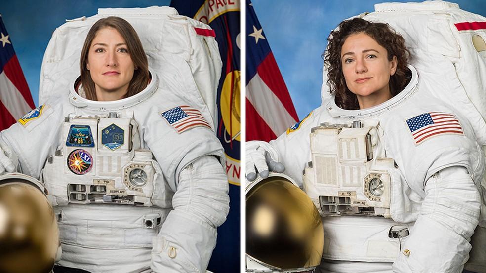 Astronautas Christina Koch e Jessica Meir em fotos oficiais da Nasa — Foto: Nasa