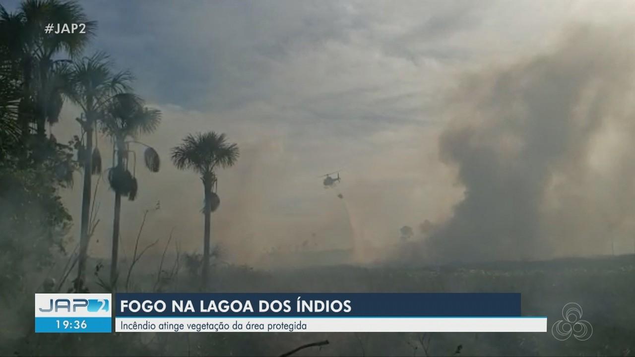 Incêndio atinge vegetação da Lagoa dos Índios