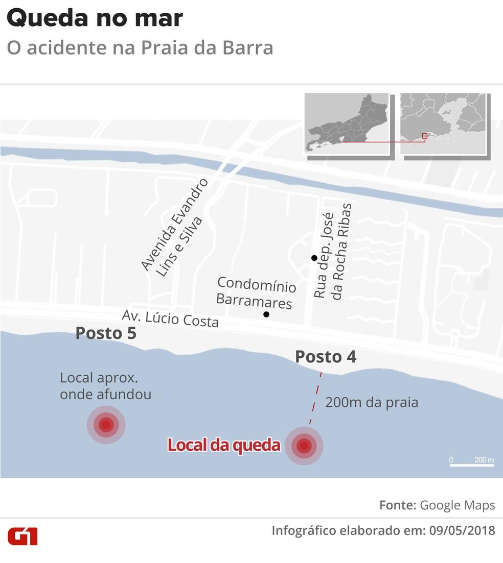 Local da queda do helicóptero na Barra da Tijuca (Foto: Arte/G1)