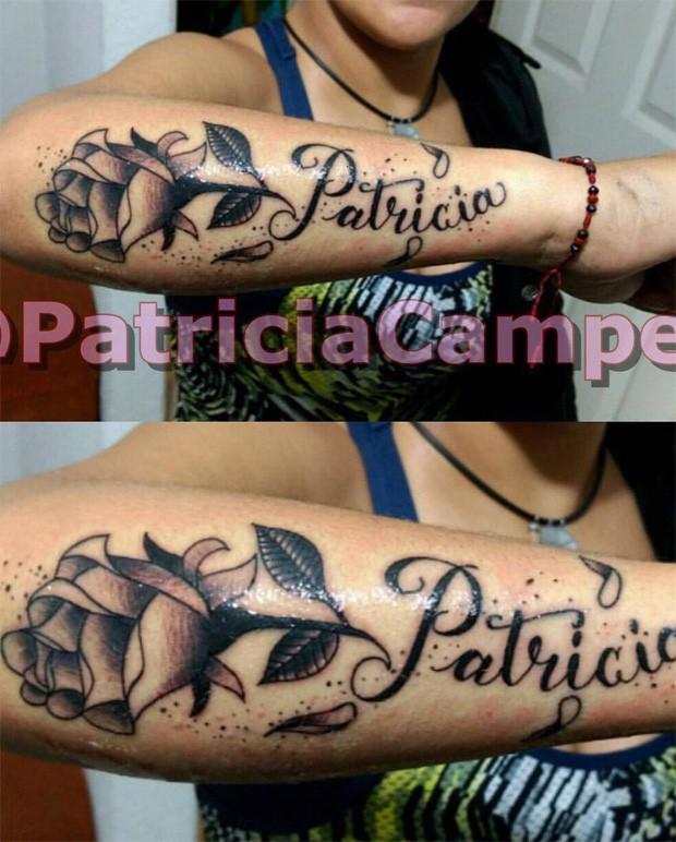 Fã tatua nome de Patrícia, do BBB18 (Foto: Reprodução)
