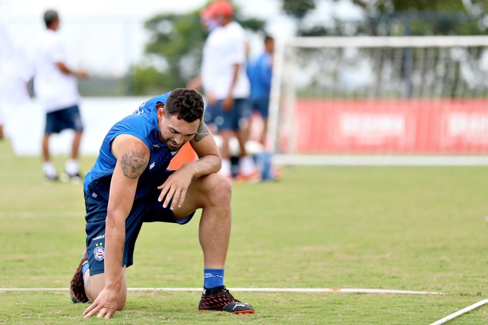 Gilberto em treino do Bahia — Foto: Felipe Oliveira/ Divulgação/ EC Bahia