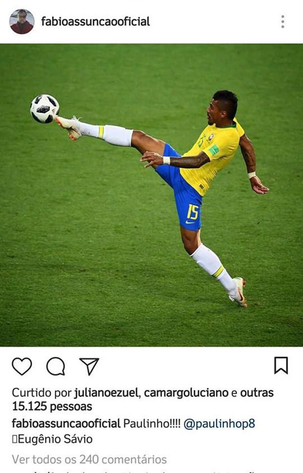 Foto de Eugenio Savio com Paulinho em partida contra a Sérvia fez sucesso entre famosos (Foto: Reprodução/Instagram)