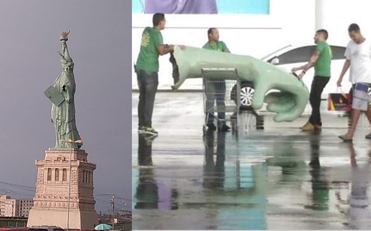 9d6c8795af6 Chuva forte derruba mão de réplica da Estátua da Liberdade em loja de Lorena