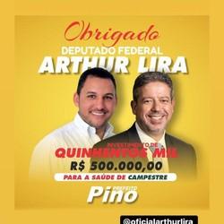 Reprodução de postagem feita na rede social do prefeito de Campestre (AL), agradecendo o envio de emendas de Lira