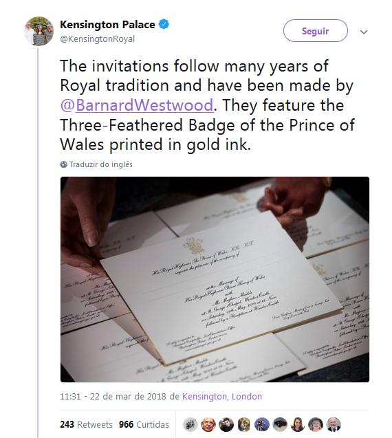 Palácio de Kensington divulgou os convites pelo Twitter (Foto: Reprodução)