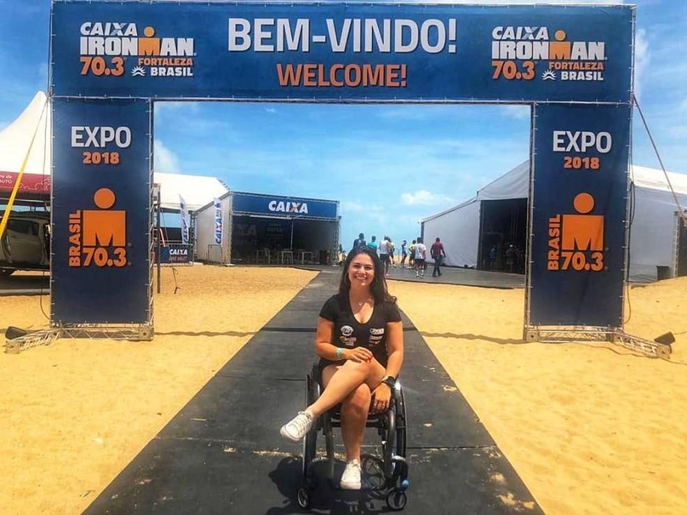 Em Fortaleza, Dani se prepara para participar do Meio Ironman — Foto: Arquivo pessoal
