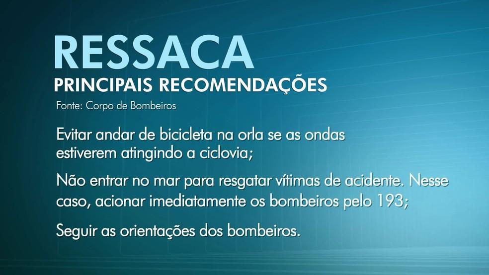 Recomendações do Corpo de Bombeiros para dias de ressaca (Foto: Reprodução/TV Globo)