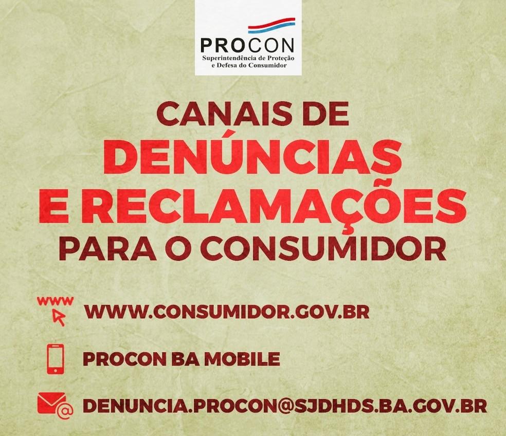 Procon-BA oferece canais digitais de atendimento — Foto: Divulgação