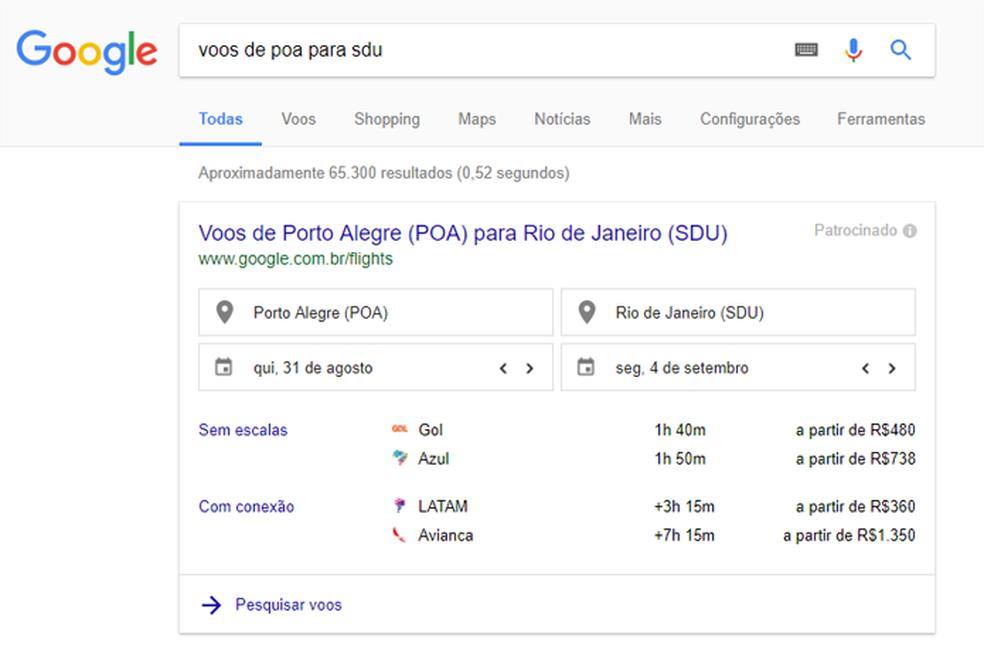 Busca exibe rotas e preços de voos (Foto: Reprodução/Google)